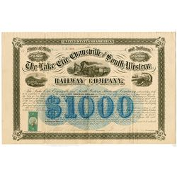 Lake Erie, Evansville and South Western Railway Co., 1872 Issued Bond