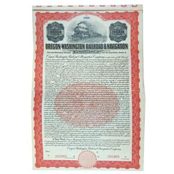 Oregon-Washington Railroad & Navigation Co., 1911 Specimen Bond
