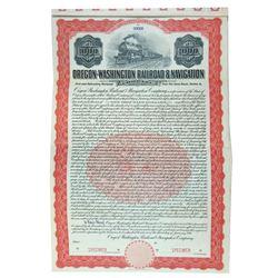 Oregon-Washington Railroad & Navigation Co., 1911 Specimen Bond