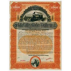 Gila Valley, Globe and Northern Railway Co., 1894 Specimen Bond