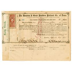 Houston & Great Northern Railroad Co. of Texas, 1871 Cancelled Stock Certificate
