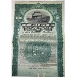 Wichita Falls & Southern Railway Co., 1908 Cancelled Bond