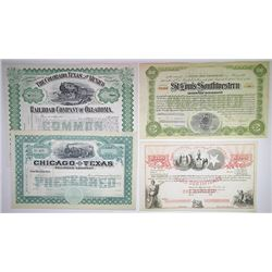 Texas and Related States Stock Certificate Assortment, ca.1860-1910