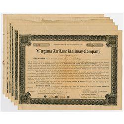 Virginia Air Line Railway Co. 1906-1910 Share Certificate Assortment