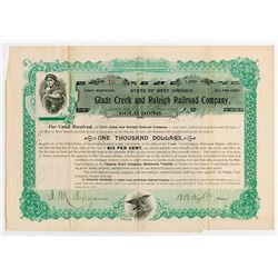 Glade Creek and Raleigh Railroad Co., 1897 Cancelled Bond