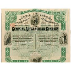 Central Appalachian Co. Ltd., 1892 Issued Stock Certificate