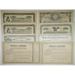 Issued and Unissued Texas Land Development Stock Certificates, ca.1880-1909