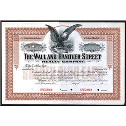 Wall and Hanover Street Realty Co., ca.1900-1910 Specimen Stock