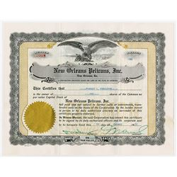 New Orleans Pelicans, Inc., 1955 Issued Stock Certificate.