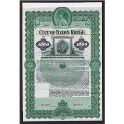 City of Baton Rouge. 1899. Specimen Bond.