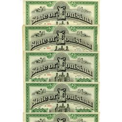 State of Louisiana, 1892 Canceled Set of 5 Bonds Signed by Murphy J. Foster as Governor.