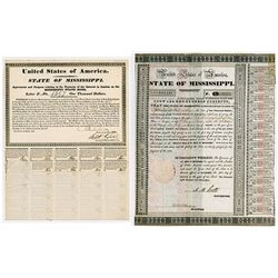 State of Mississippi Pair of Issued Bonds 1833