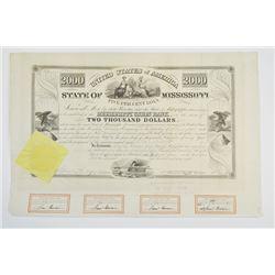 State of Mississippi, 1838, 5% Loan I/U Bond.