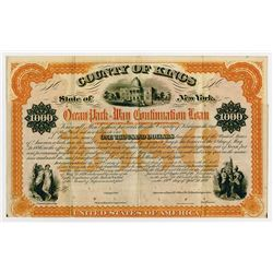 County of Kings - Ocean Park-Way Continuation Loan, 1876 Specimen Coupon Bond Rarity.