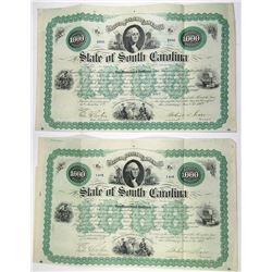 State of South Carolina, 1869 Bond Duo.