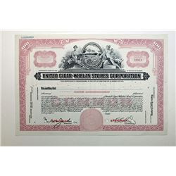 United Cigar - Whelan Stores Corp. 1937 Specimen Stock Certificate