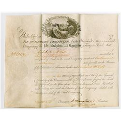Philadelphia and Lancaster Turnpike, 1796 Stock Certificate Signed by William Bingham.