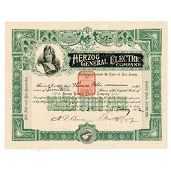 Herzog General Electric Co., 1902 Issued Stock Certificate