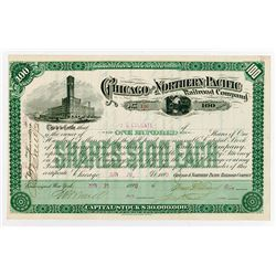 Chicago & Northern Pacific Railroad Co. 1890. I/U Stock Certificate.