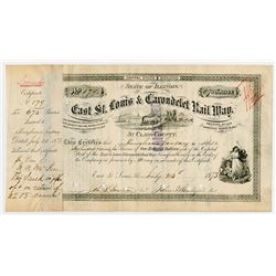 East St Louis & Carondelet Rail Way. 1873. I/C Stock Certificate.