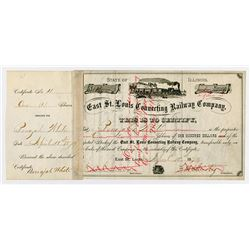 East St Louis Connecting Railway Co. 1879. I/C Stock Certificate.