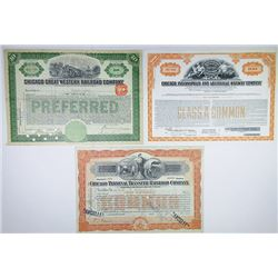 Illinois  I/C Railroad Stock Certificate Trio, 1906-1955