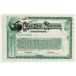 Lake Erie & Western Railroad Co. 1900-10 Specimen Stock Certificate.