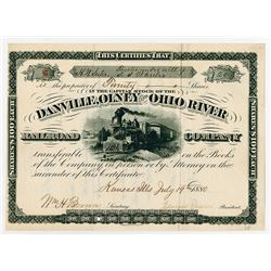 Danville Olney & Ohio River Railroad Co. 1880. I/U Stock Certificate.