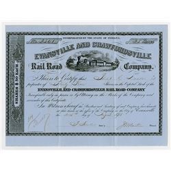 Evansville & Crawfordsville Rail Road Co. 1875. I/U Stock Certificate.