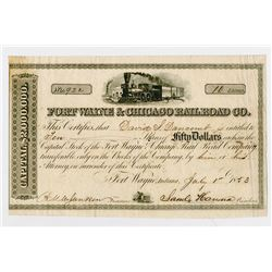 Fort Wayne & Chicago Railroad Co. 1853. I/U Stock Certificate..