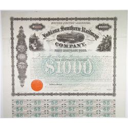 Indiana Southern Railway Co. 1866 I/U Bond signed by Samuel Tilden.
