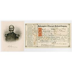 Indianapolis & Vincennes Railroad Co. 1869 I/C stock Certificate signed by Maj. Gen. Ambrose Burnsid