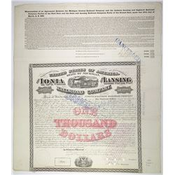Ionia & Lansing Railroad Co. 1869. I/C Bond.