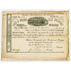 Peru & Indianapolis Railroad Co., 1852 I/U Stock Certificate