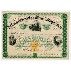 Indianapolis, Bloomington and Western Railway Co., 1871 I/U Stock Certificate with Imprinted Revenue