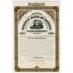 Indianapolis, Decatur and Springfield Railway Co., 1881 Proof Bond Production File