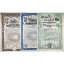 Midwest Issued Railroad Bond Trio, ca.1890-1916