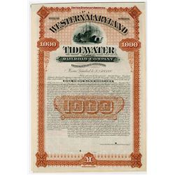 Western Maryland Tidewater Railroad Co. 1891. Specimen Bond.