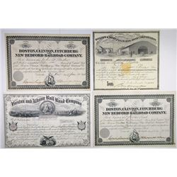 Massachusetts Railroad Stock Certificate Quartet, 1867-1895