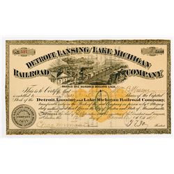 Detroit Lansing & Lake Michigan Railroad Co. 1874. I/c Stock Certificate with RN-U1 Imprinted revenu