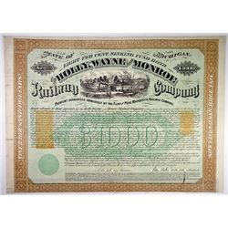 Holly Wayne & Monroe Railway Co. 1871 I/C Bond with imprinted revenues.