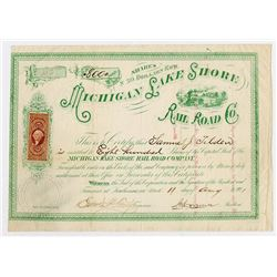 Michigan Lake Shore Rail Road Co. 1871. I/U Stock Certificate Issued to Samuel J. Tilden.