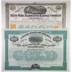 Midwest Issued Railroad Bond Duo, 1868-1873
