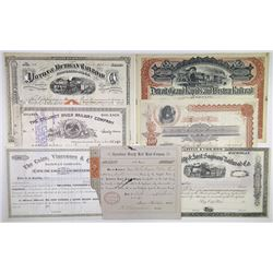 Railroad Bond Group of 7 Bonds, 1865-1907