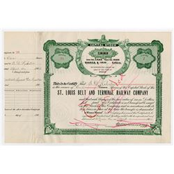St. Louis Belt and Terminal Railway Co., 1904 I/C Stock Certificate