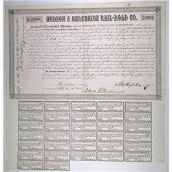 Hudson & Berkshire Rail-Road Co. 1848. I/U Bond with Millard Filmore's Signature as Comptroller.