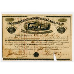 Rochester, Lockport & Niagara Falls Rail Road Co., 1857 I/C Stock Certificate