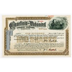 Clearfield & Mahoning Railway Co. 1893 Specimen Stock Certificate.