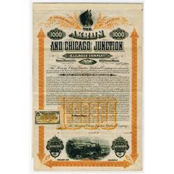 Akron & Chicago Junction Railroad Co. 1890. Specimen Bond.