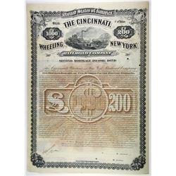 Cincinnati, Wheeling & New York Railroad Co. 1883 Specimen Bond.